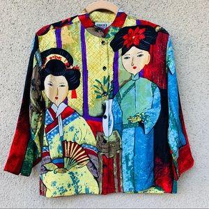Chico's design Asian geisha print silk blouse S